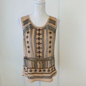 Lucky Brand Crepe Beaded Tank Top Size Small {B}